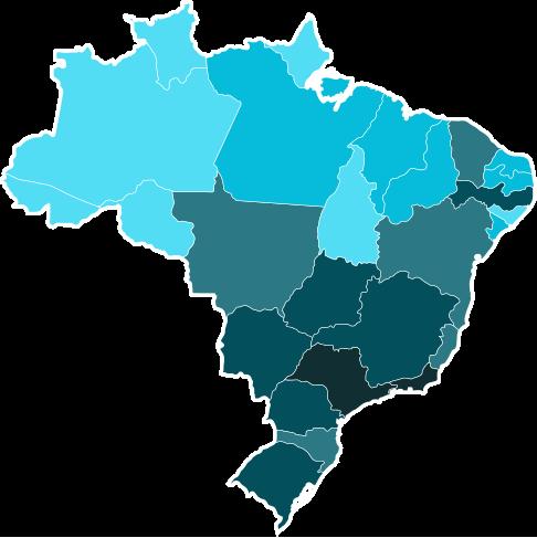 Mapa do brasil, com as divisões entre os estados